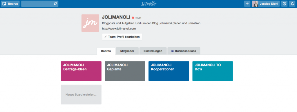 blogposts planen mit Trello