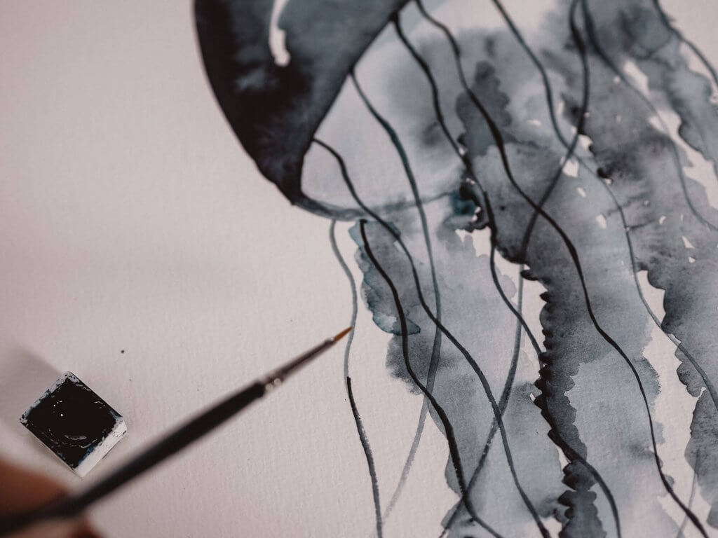 Tutorial: Aquarell Qualle / Watercolor Jellyfish, Step by Step Anleitung zum Malen